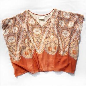 Maeve Silk Kimono Sleeve V Neck Orange Boho Top